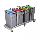 <p><b>Quadruple plastic waste trolley TSO-0015 </b></p>